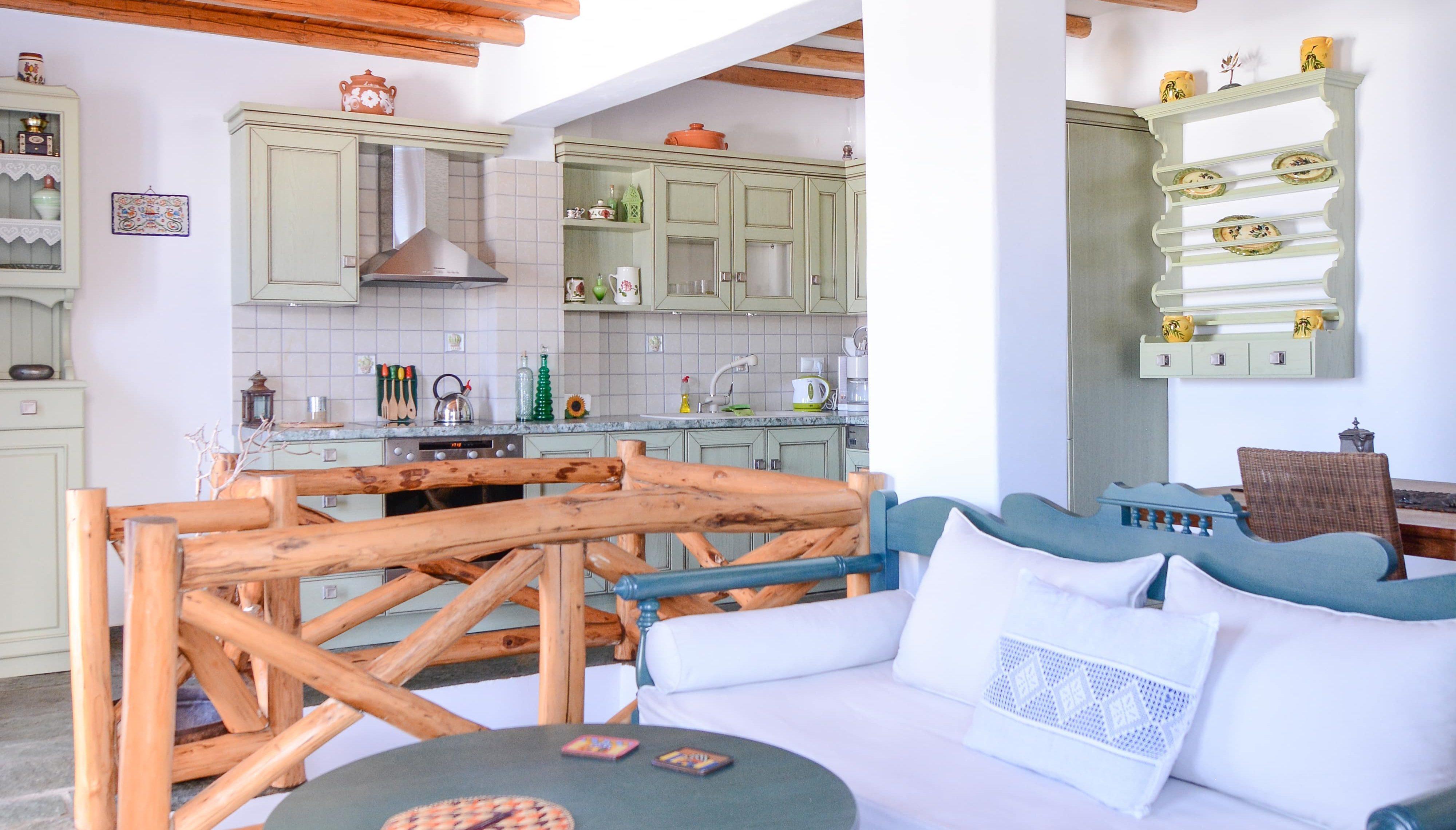 traditional villa living room and kitchen interior