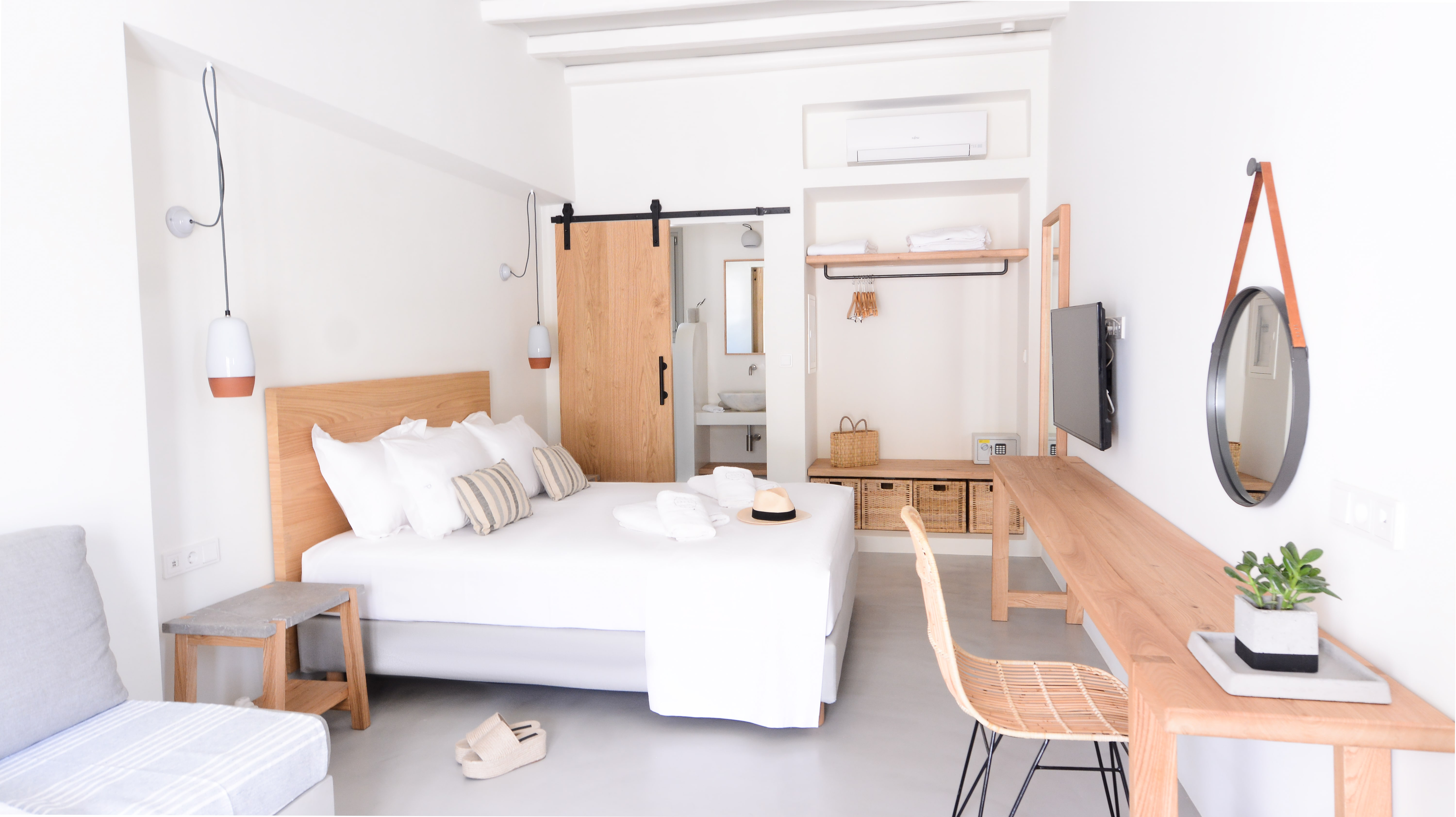 island hotel suite with minimal contemporary decoration