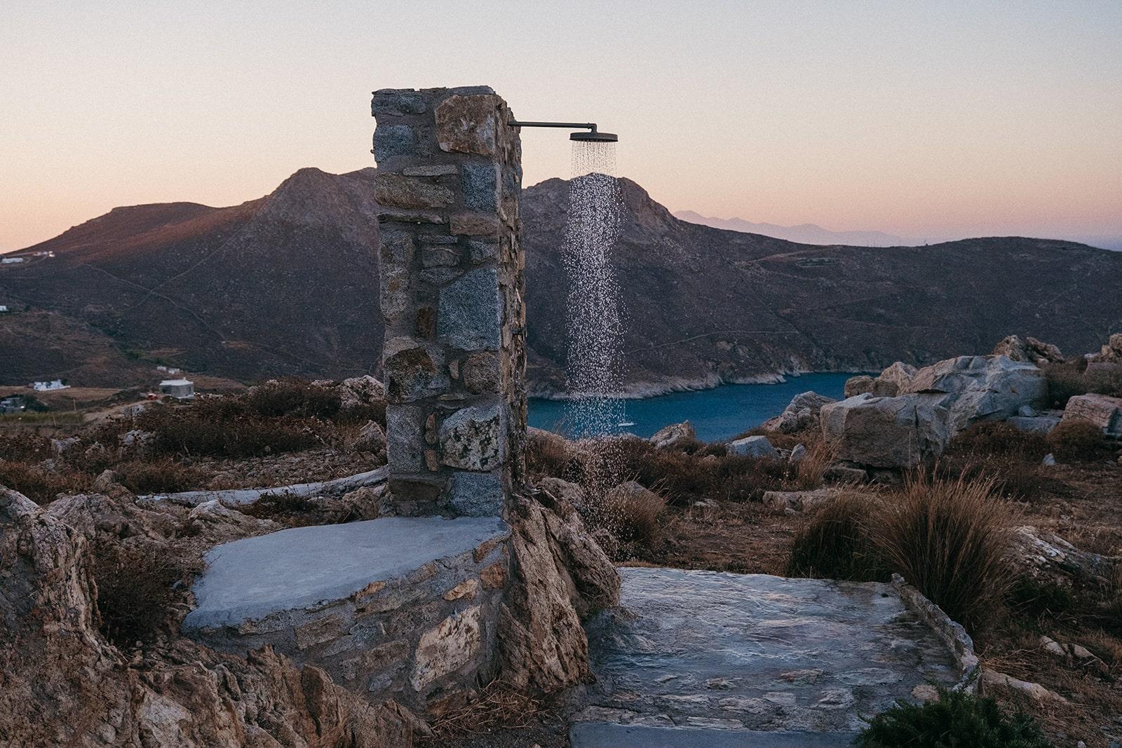 Keli Serifos outdoor shower with sea view